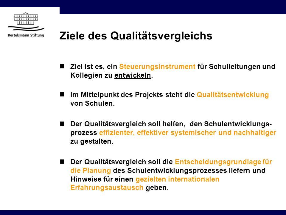 Ziele des Qualitätsvergleichs Ziel ist es, ein Steuerungsinstrument für Schulleitungen und Kollegien zu entwickeln. Im Mittelpunkt des Projekts steht