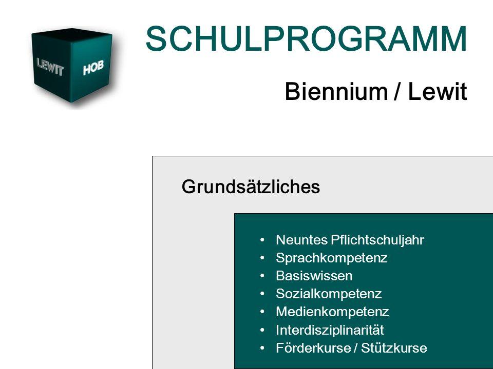 SCHULPROGRAMM Biennium / Lewit Grundsätzliches Neuntes Pflichtschuljahr Sprachkompetenz Basiswissen Sozialkompetenz Medienkompetenz Interdisziplinarität Förderkurse / Stützkurse