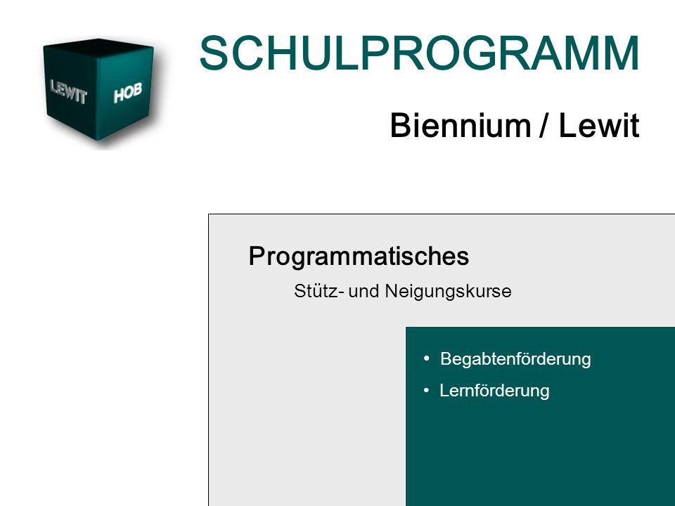 SCHULPROGRAMM Biennium / Lewit Programmatisches Stütz- und Neigungskurse Begabtenförderung Lernförderung