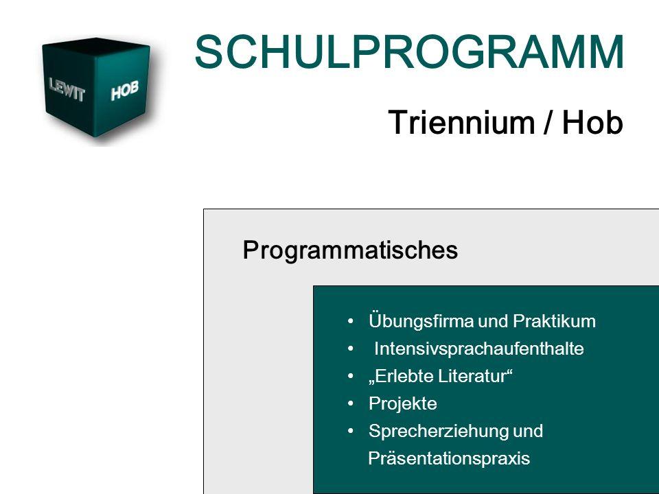 SCHULPROGRAMM Triennium / Hob Programmatisches Übungsfirma und Praktikum Intensivsprachaufenthalte Erlebte Literatur Projekte Sprecherziehung und Präsentationspraxis