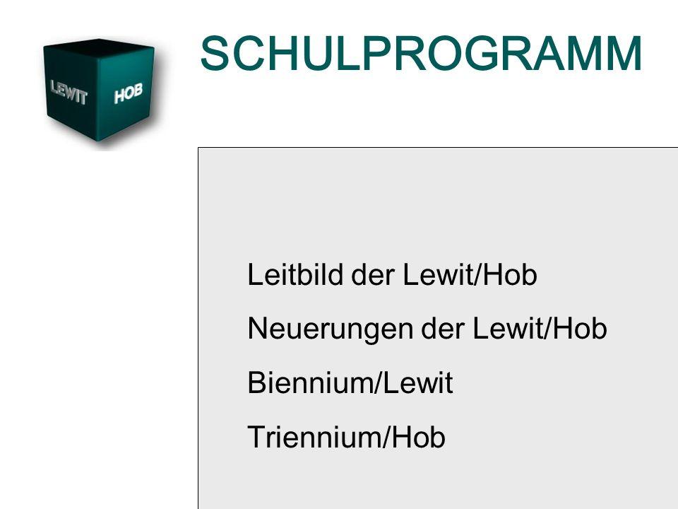 SCHULPROGRAMM Leitbild der Lewit/Hob Neuerungen der Lewit/Hob Biennium/Lewit Triennium/Hob