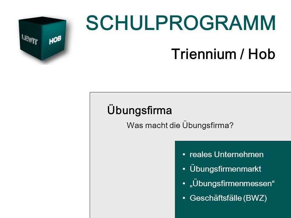 SCHULPROGRAMM Triennium / Hob Übungsfirma Was macht die Übungsfirma? reales Unternehmen Übungsfirmenmarkt Übungsfirmenmessen Geschäftsfälle (BWZ)