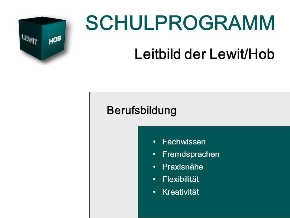 SCHULPROGRAMM Leitbild der Lewit/Hob Berufsbildung Fachwissen Fremdsprachen Praxisnähe Flexibilität Kreativität