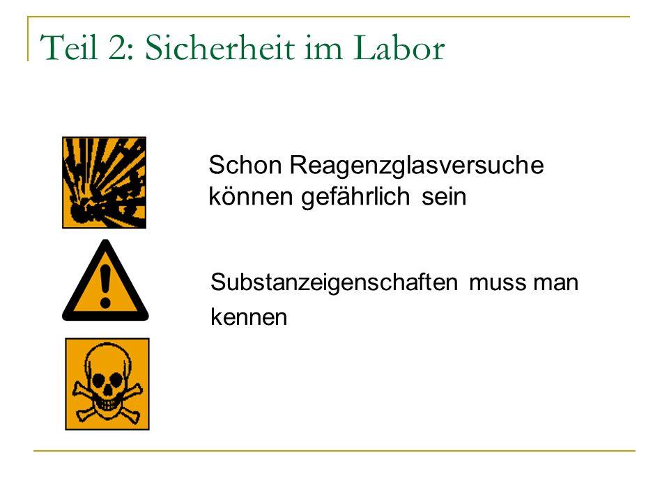 Teil 2: Sicherheit im Labor Schon Reagenzglasversuche können gefährlich sein Substanzeigenschaften muss man kennen