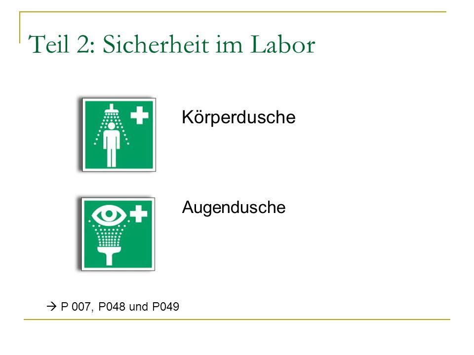 Teil 2: Sicherheit im Labor Körperdusche Augendusche P 007, P048 und P049