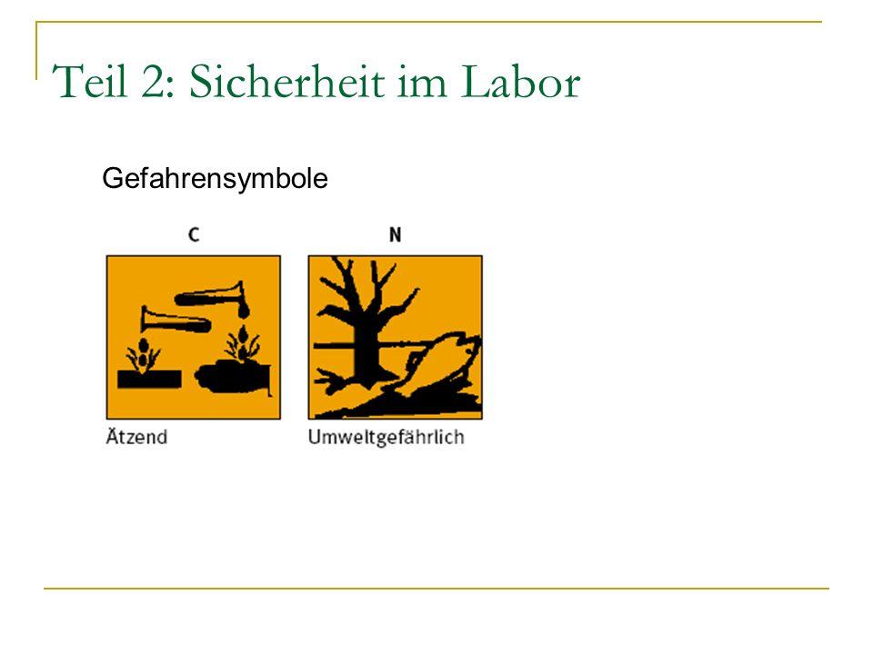 Teil 2: Sicherheit im Labor Gefahrensymbole