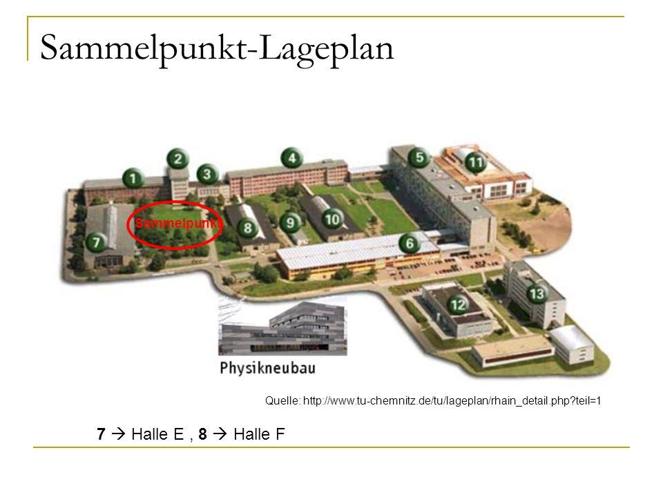Sammelpunkt-Lageplan 7 Halle E, 8 Halle F Quelle: http://www.tu-chemnitz.de/tu/lageplan/rhain_detail.php?teil=1 Sammelpunkt