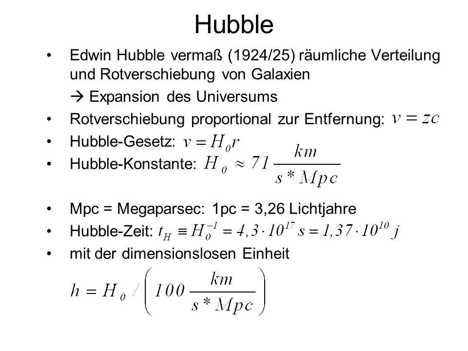Hubble Edwin Hubble vermaß (1924/25) räumliche Verteilung und Rotverschiebung von Galaxien Expansion des Universums Rotverschiebung proportional zur E