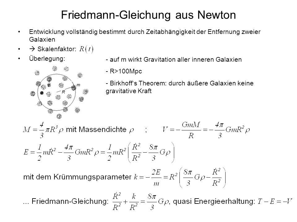 Friedmann-Gleichung aus Newton Entwicklung vollständig bestimmt durch Zeitabhängigkeit der Entfernung zweier Galaxien Skalenfaktor: Überlegung: - auf