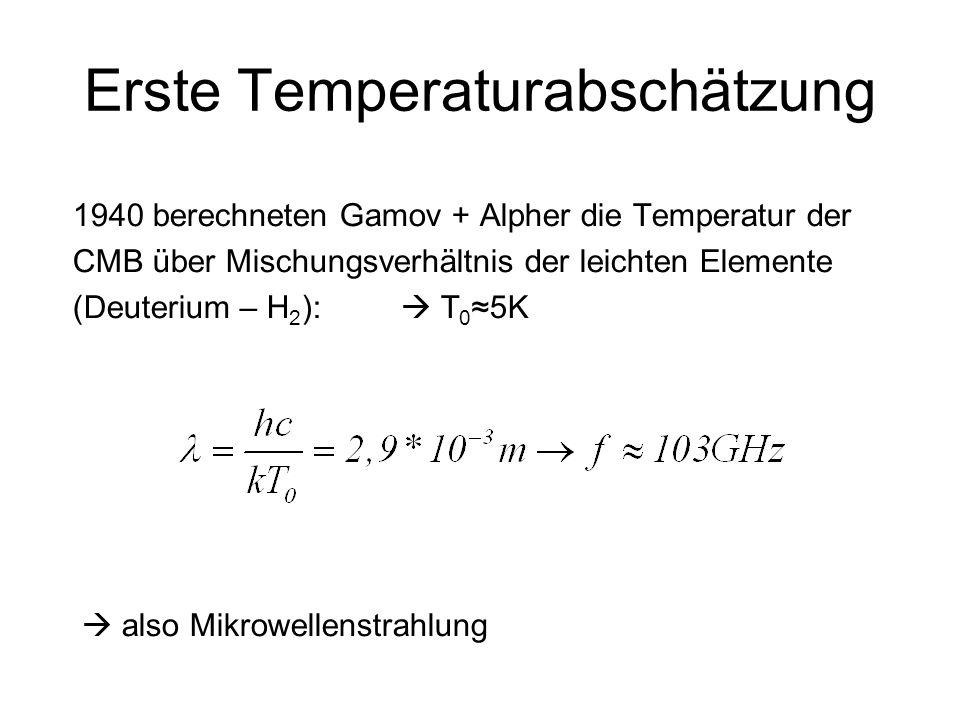 Erste Temperaturabschätzung 1940 berechneten Gamov + Alpher die Temperatur der CMB über Mischungsverhältnis der leichten Elemente (Deuterium – H 2 ):