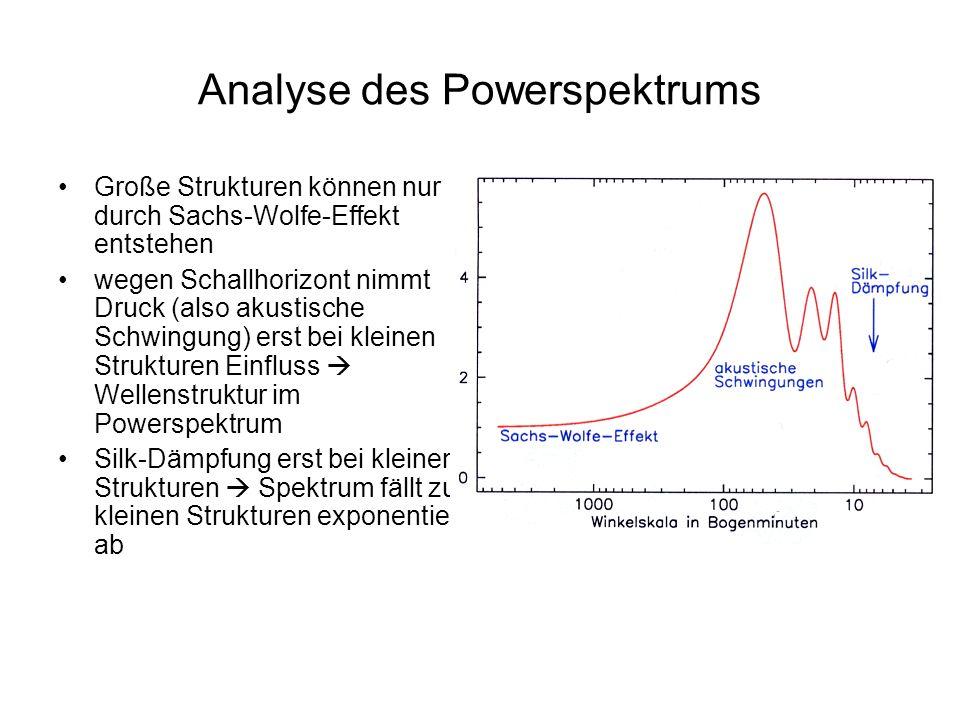 Analyse des Powerspektrums Große Strukturen können nur durch Sachs-Wolfe-Effekt entstehen wegen Schallhorizont nimmt Druck (also akustische Schwingung