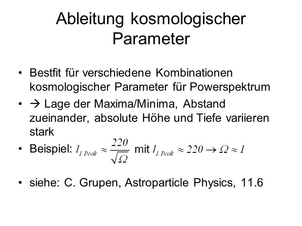 Ableitung kosmologischer Parameter Bestfit für verschiedene Kombinationen kosmologischer Parameter für Powerspektrum Lage der Maxima/Minima, Abstand z