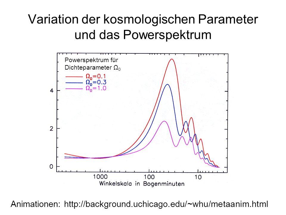 Variation der kosmologischen Parameter und das Powerspektrum Animationen: http://background.uchicago.edu/~whu/metaanim.html Powerspektrum für Dichtepa