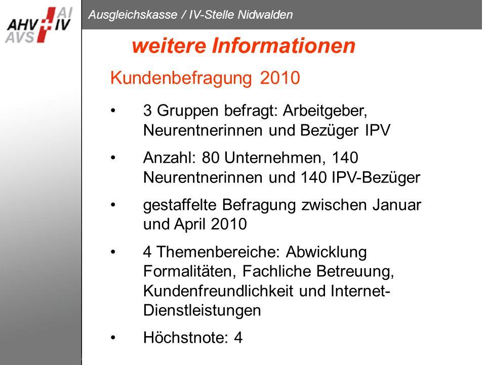 Ausgleichskasse / IV-Stelle Nidwalden weitere Informationen Kundenbefragung 2010 3 Gruppen befragt: Arbeitgeber, Neurentnerinnen und Bezüger IPV Anzah