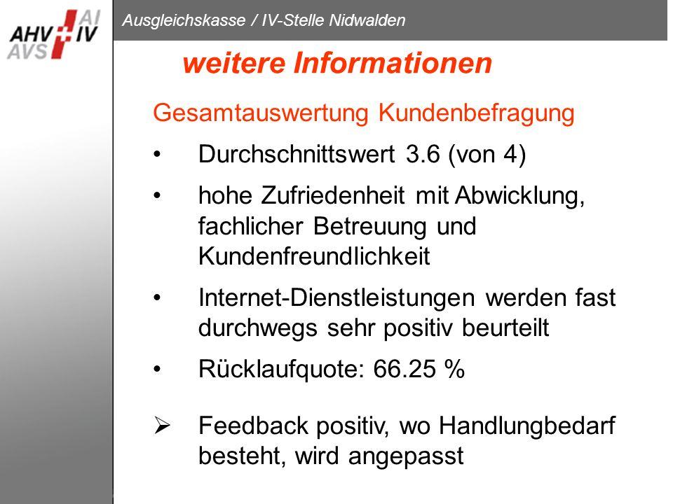 Ausgleichskasse / IV-Stelle Nidwalden weitere Informationen Gesamtauswertung Kundenbefragung Durchschnittswert 3.6 (von 4) hohe Zufriedenheit mit Abwi