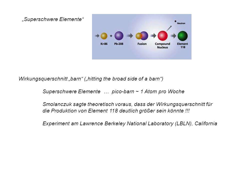 Superschwere Elemente Wirkungsquerschnitt barn (hitting the broad side of a barn) Superschwere Elemente … pico-barn ~ 1 Atom pro Woche Smolanczuk sagt