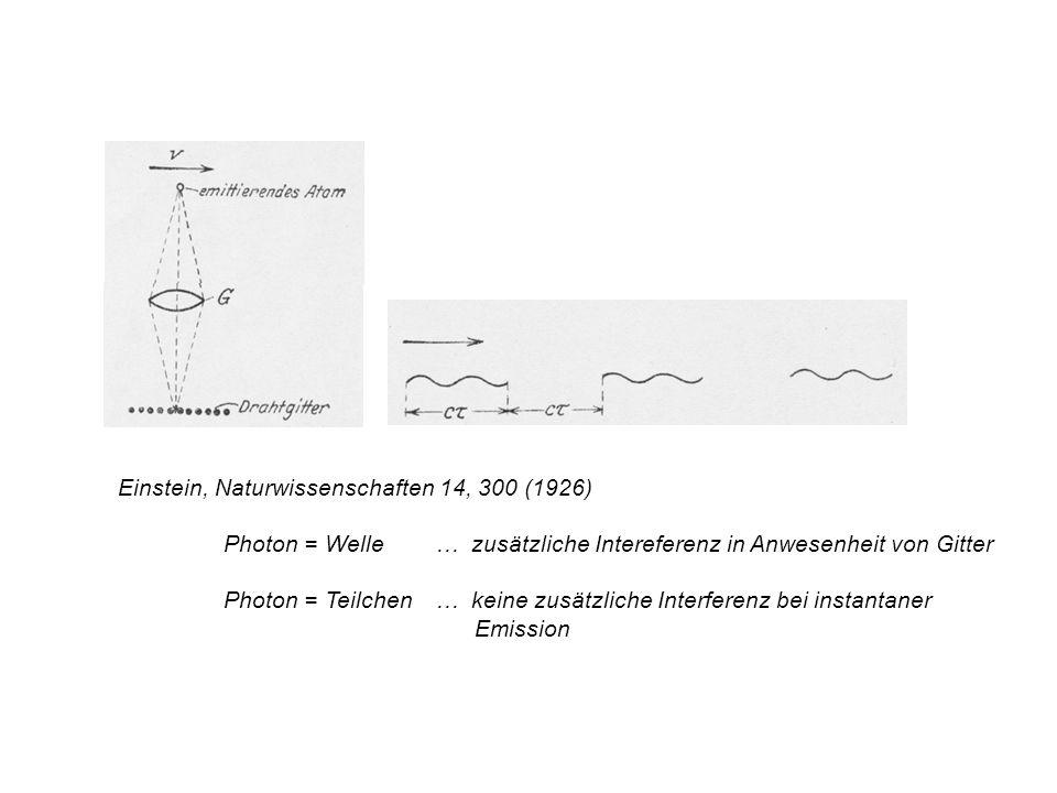 Einstein, Naturwissenschaften 14, 300 (1926) Photon = Welle … zusätzliche Intereferenz in Anwesenheit von Gitter Photon = Teilchen… keine zusätzliche
