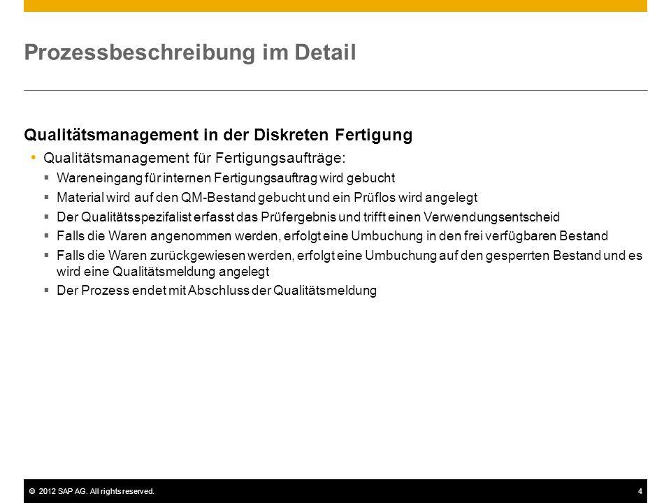 ©2012 SAP AG. All rights reserved.4 Prozessbeschreibung im Detail Qualitätsmanagement in der Diskreten Fertigung Qualitätsmanagement für Fertigungsauf