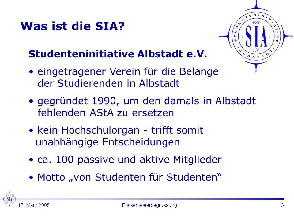 3Erstsemesterbegrüssung Was ist die SIA? Studenteninitiative Albstadt e.V. eingetragener Verein für die Belange der Studierenden in Albstadt gegründet