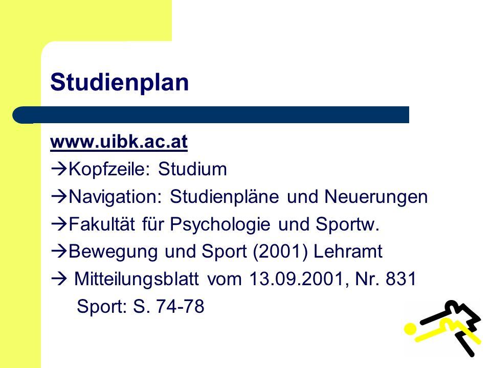 Studienplan www.uibk.ac.at Kopfzeile: Studium Navigation: Studienpläne und Neuerungen Fakultät für Psychologie und Sportw.
