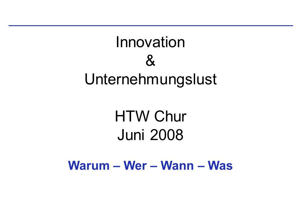 Innovation & Unternehmungslust HTW Chur Juni 2008 Warum – Wer – Wann – Was