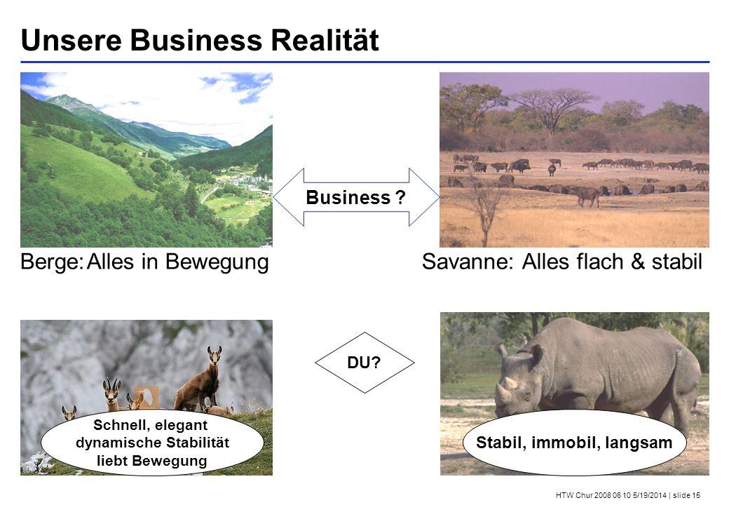 HTW Chur 2008 06 10 5/19/2014 | slide 15 Unsere Business Realität DU? Stabil, immobil, langsam Schnell, elegant dynamische Stabilität liebt Bewegung B