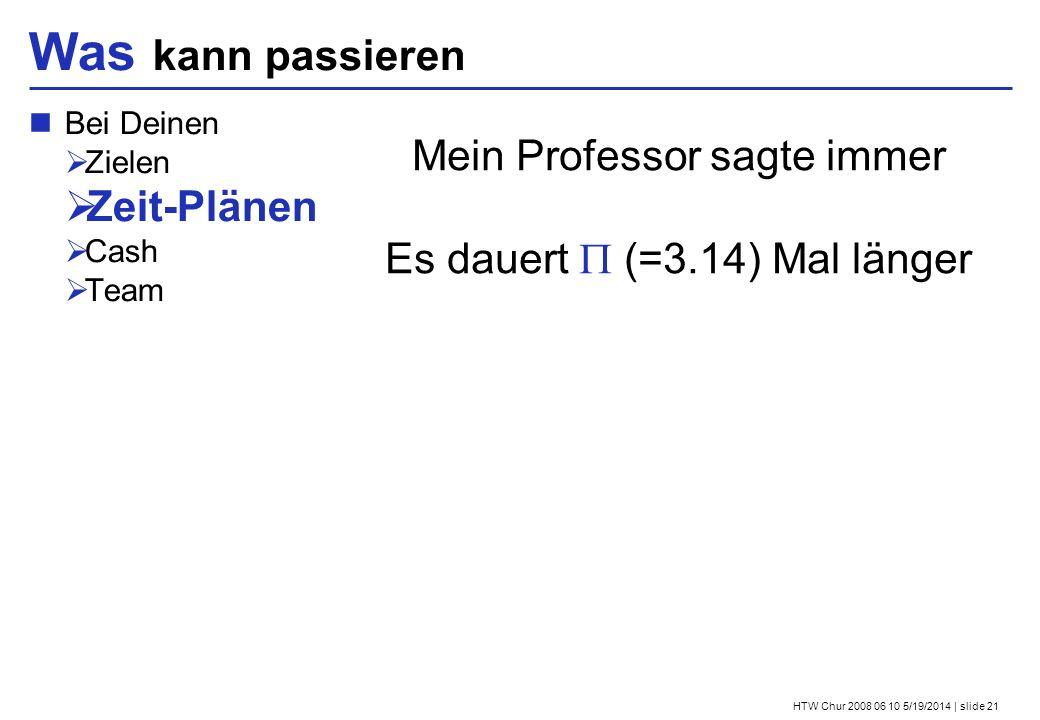 HTW Chur 2008 06 10 5/19/2014 | slide 21 Was kann passieren Bei Deinen Zielen Zeit-Plänen Cash Team Mein Professor sagte immer Es dauert (=3.14) Mal länger