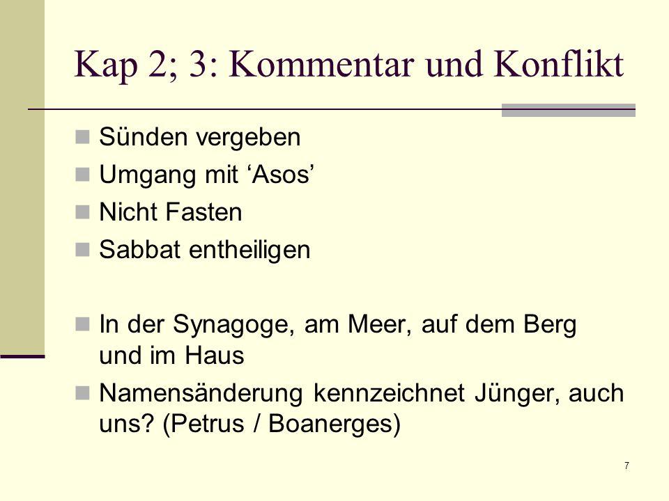 7 Kap 2; 3: Kommentar und Konflikt Sünden vergeben Umgang mit Asos Nicht Fasten Sabbat entheiligen In der Synagoge, am Meer, auf dem Berg und im Haus Namensänderung kennzeichnet Jünger, auch uns.