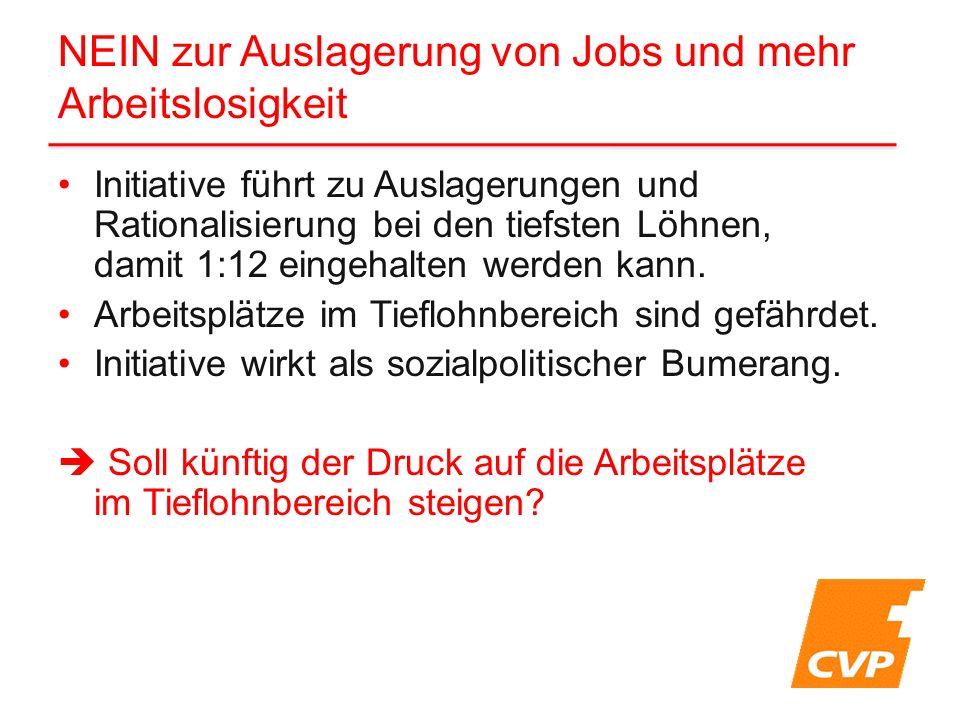 Initiative führt zu Auslagerungen und Rationalisierung bei den tiefsten Löhnen, damit 1:12 eingehalten werden kann. Arbeitsplätze im Tieflohnbereich s