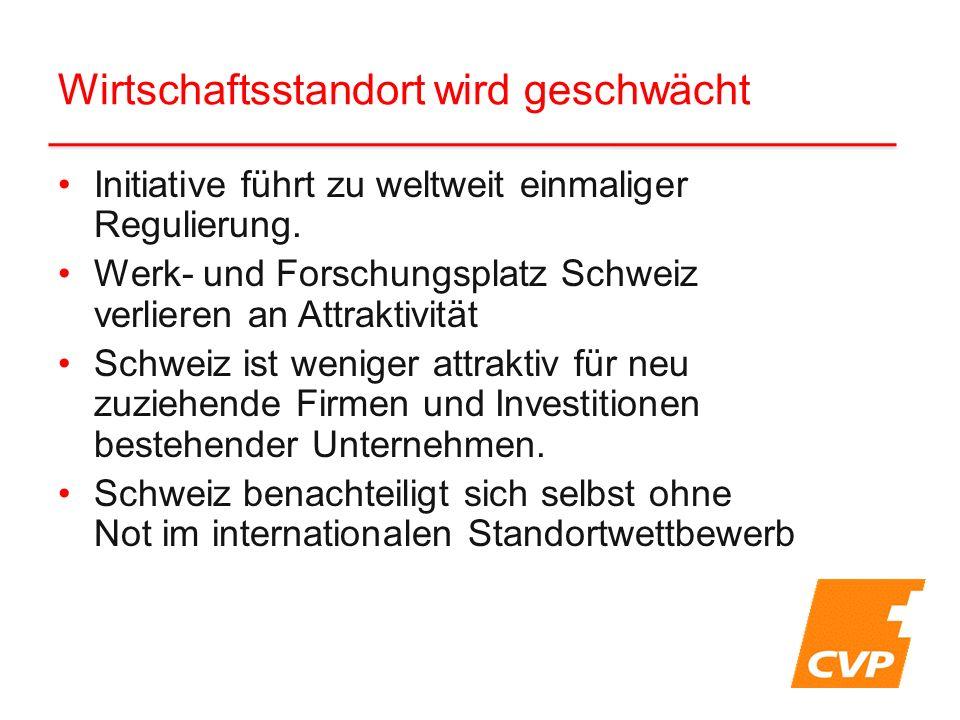 Initiative führt zu weltweit einmaliger Regulierung. Werk- und Forschungsplatz Schweiz verlieren an Attraktivität Schweiz ist weniger attraktiv für ne