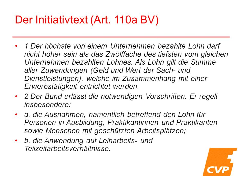 Der Initiativtext (Art.