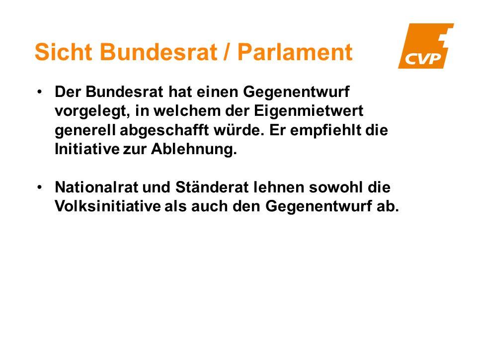 Sicht Bundesrat / Parlament Der Bundesrat hat einen Gegenentwurf vorgelegt, in welchem der Eigenmietwert generell abgeschafft würde.