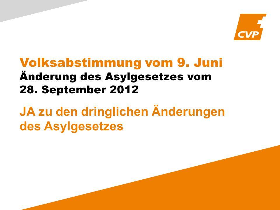 Volksabstimmung vom 9. Juni Änderung des Asylgesetzes vom 28.