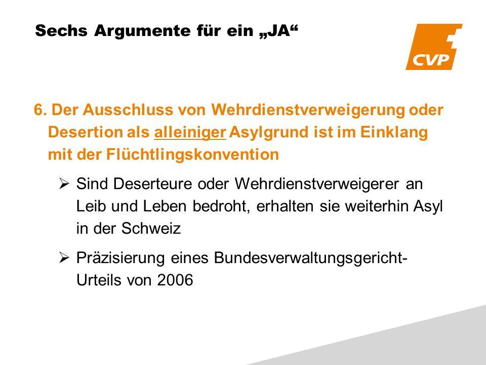 Sechs Argumente für ein JA 6.