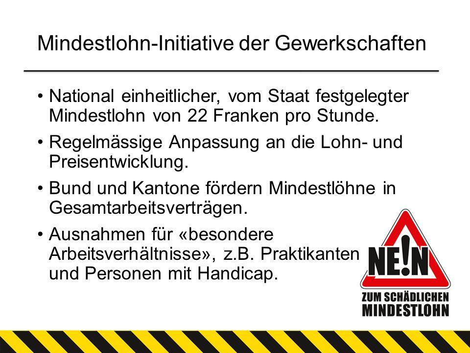 Mindestlohn-Initiative der Gewerkschaften National einheitlicher, vom Staat festgelegter Mindestlohn von 22 Franken pro Stunde. Regelmässige Anpassung