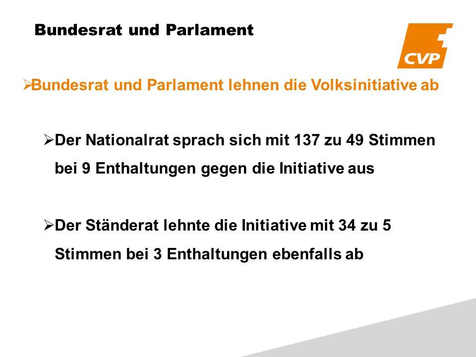 Bundesrat und Parlament Bundesrat und Parlament lehnen die Volksinitiative ab Der Nationalrat sprach sich mit 137 zu 49 Stimmen bei 9 Enthaltungen gegen die Initiative aus Der Ständerat lehnte die Initiative mit 34 zu 5 Stimmen bei 3 Enthaltungen ebenfalls ab