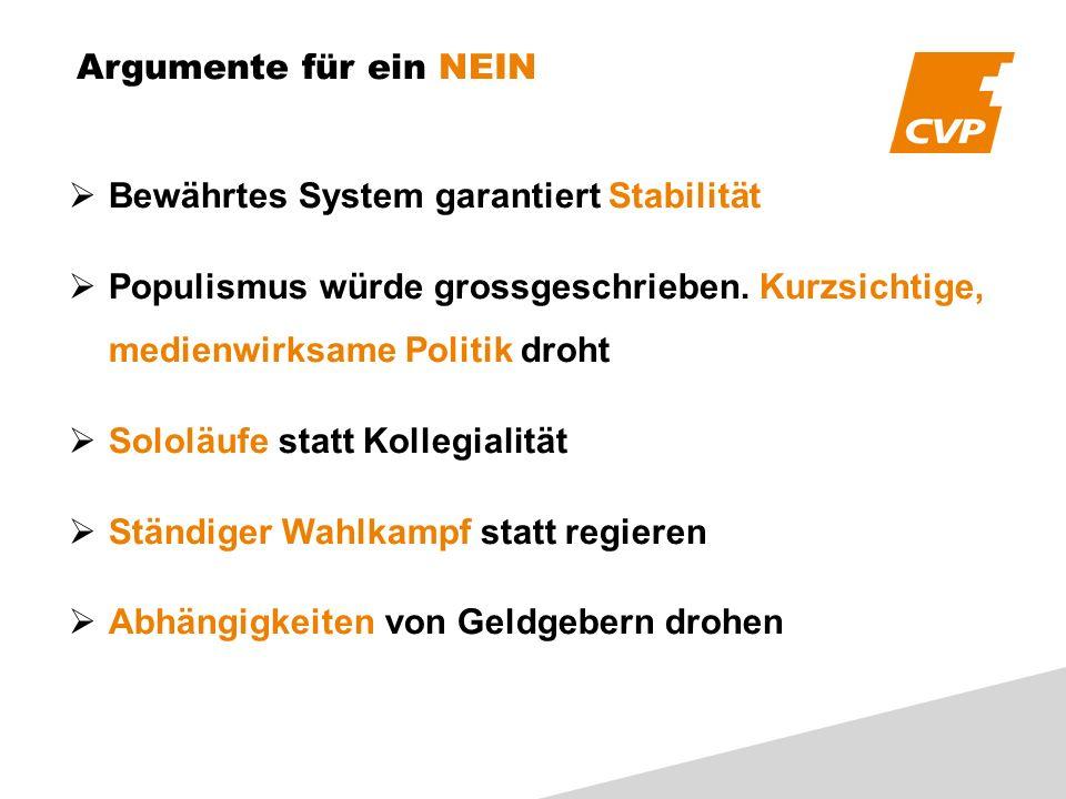 Argumente für ein NEIN Bewährtes System garantiert Stabilität Populismus würde grossgeschrieben.