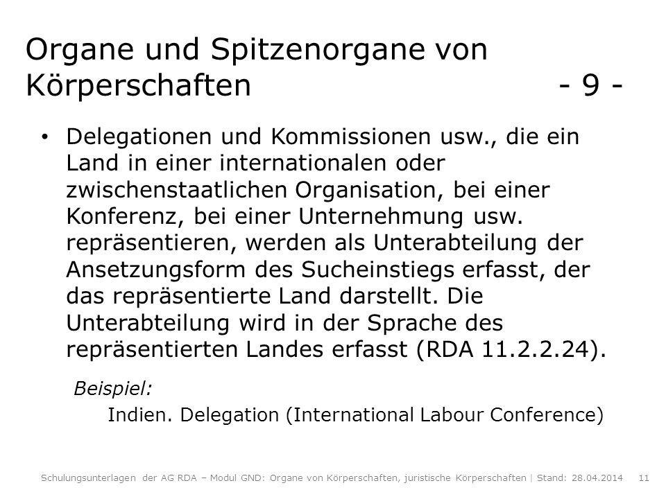 Organe und Spitzenorgane von Körperschaften - 9 - Delegationen und Kommissionen usw., die ein Land in einer internationalen oder zwischenstaatlichen O