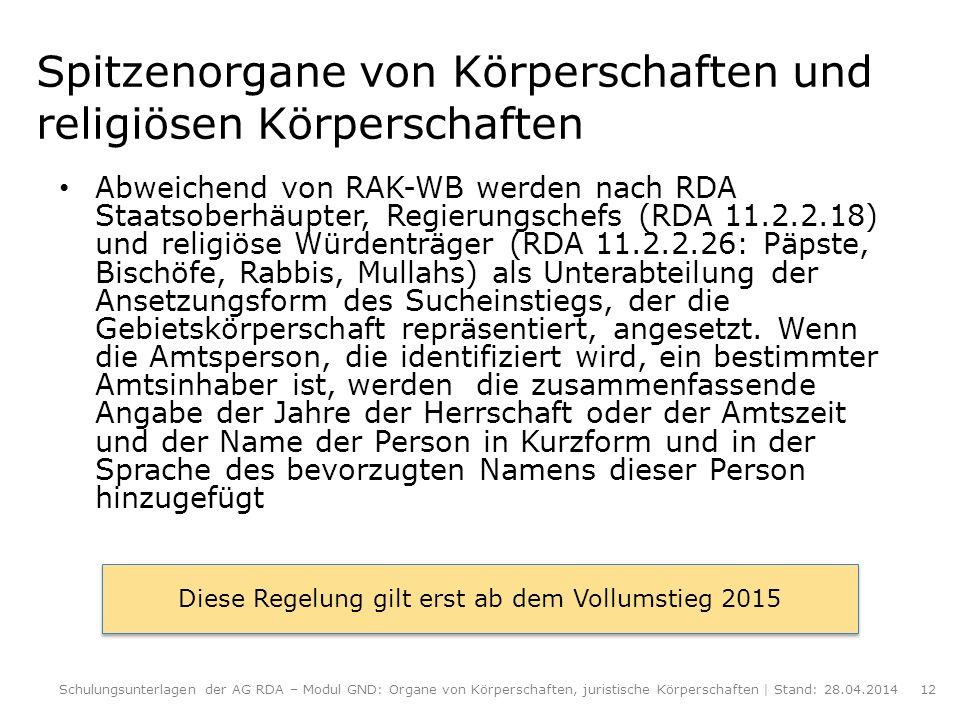 Spitzenorgane von Körperschaften und religiösen Körperschaften Abweichend von RAK-WB werden nach RDA Staatsoberhäupter, Regierungschefs (RDA 11.2.2.18
