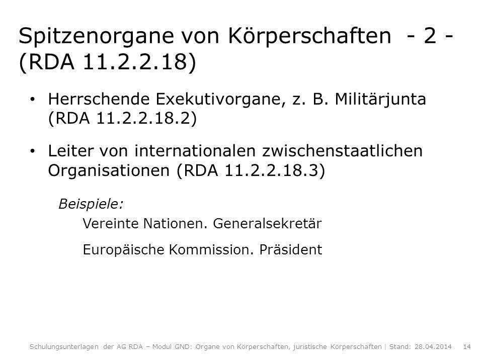 Spitzenorgane von Körperschaften - 2 - (RDA 11.2.2.18) Herrschende Exekutivorgane, z. B. Militärjunta (RDA 11.2.2.18.2) Leiter von internationalen zwi