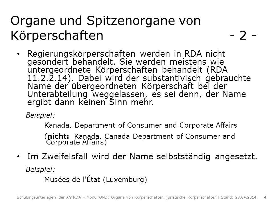 Spitzenorgane von Körperschaften - 3 - (RDA 11.2.2.18) Wenn ein spezieller Amtsinhaber in offizieller Funktion publiziert, werden die zusammenfassende Angabe der Jahre der Amtszeit sowie der Name der Person in Kurzform und in der Sprache des bevorzugten Namens dieser Person als Zusatz hinzugefügt (RDA 11.2.2.18.3).