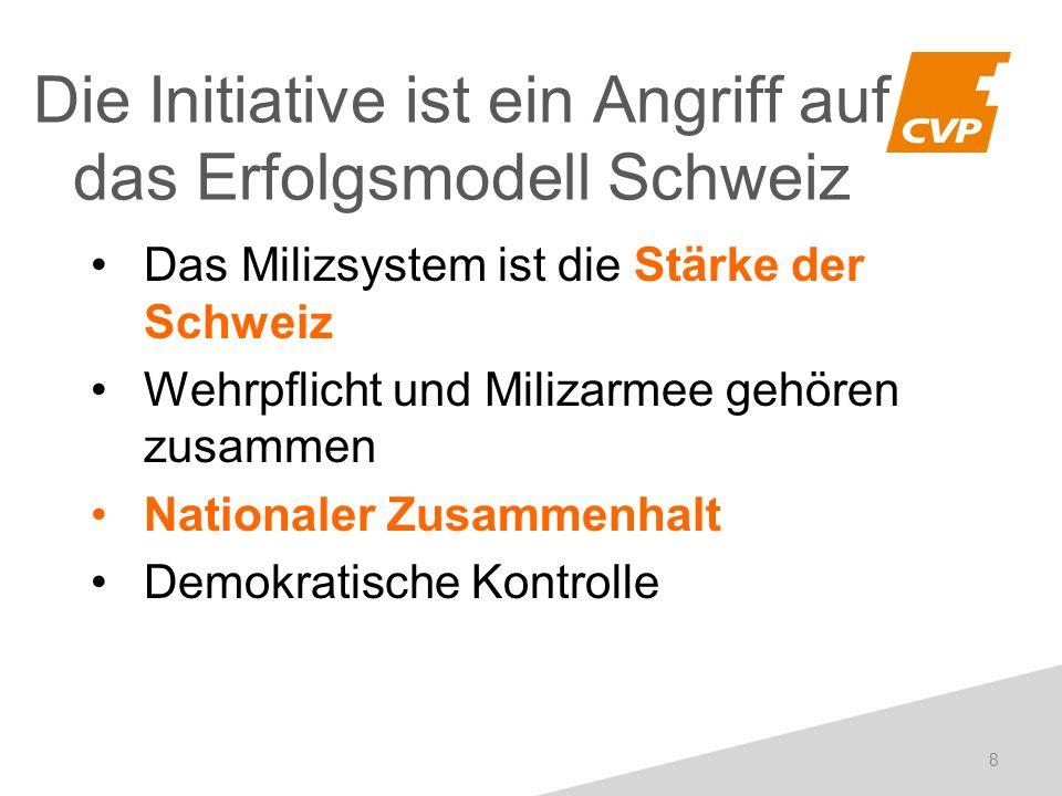 Das Milizsystem ist die Stärke der Schweiz Wehrpflicht und Milizarmee gehören zusammen Nationaler Zusammenhalt Demokratische Kontrolle Die Initiative ist ein Angriff auf das Erfolgsmodell Schweiz 8