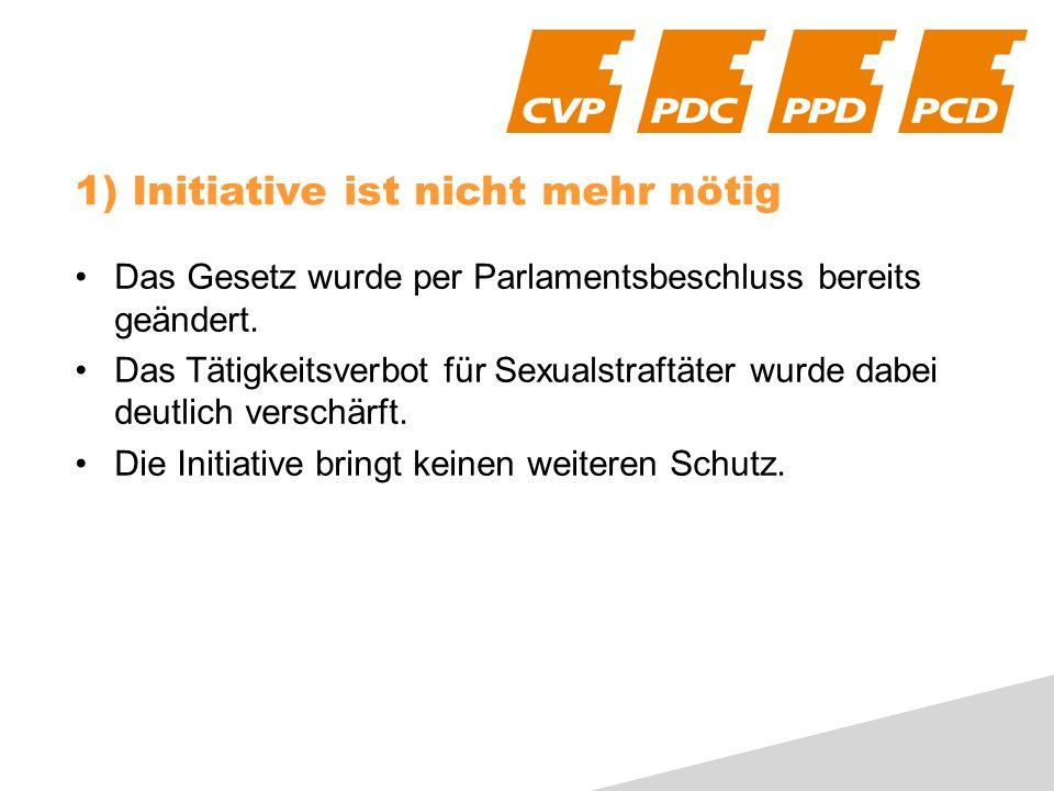 1) Initiative ist nicht mehr nötig Das Gesetz wurde per Parlamentsbeschluss bereits geändert.