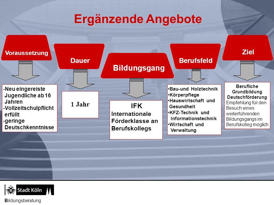 Bildungsberatung Ergänzende Angebote Bildungsgang Voraussetzung Dauer Berufsfeld Ziel IFK Internationale Förderklasse an Berufskollegs 1 Jahr -Neu ein