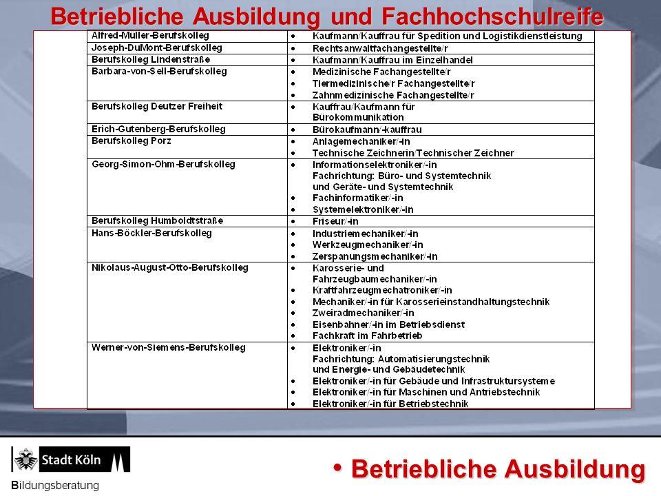 Bildungsgang Voraussetzung Dauer Berufsfeld Ziel Bildungsberatung Fachoberschule Kl.