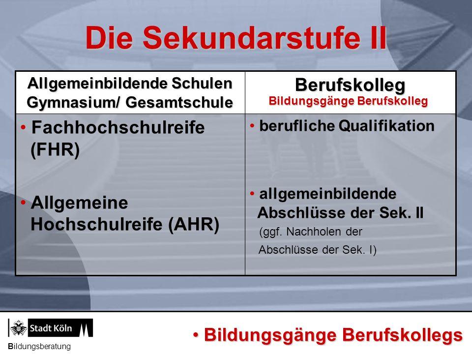 Bildungsberatung berufliche Qualifikation allgemeinbildende Abschlüsse der Sek. II (ggf. Nachholen der Abschlüsse der Sek. I) Fachhochschulreife (FHR)
