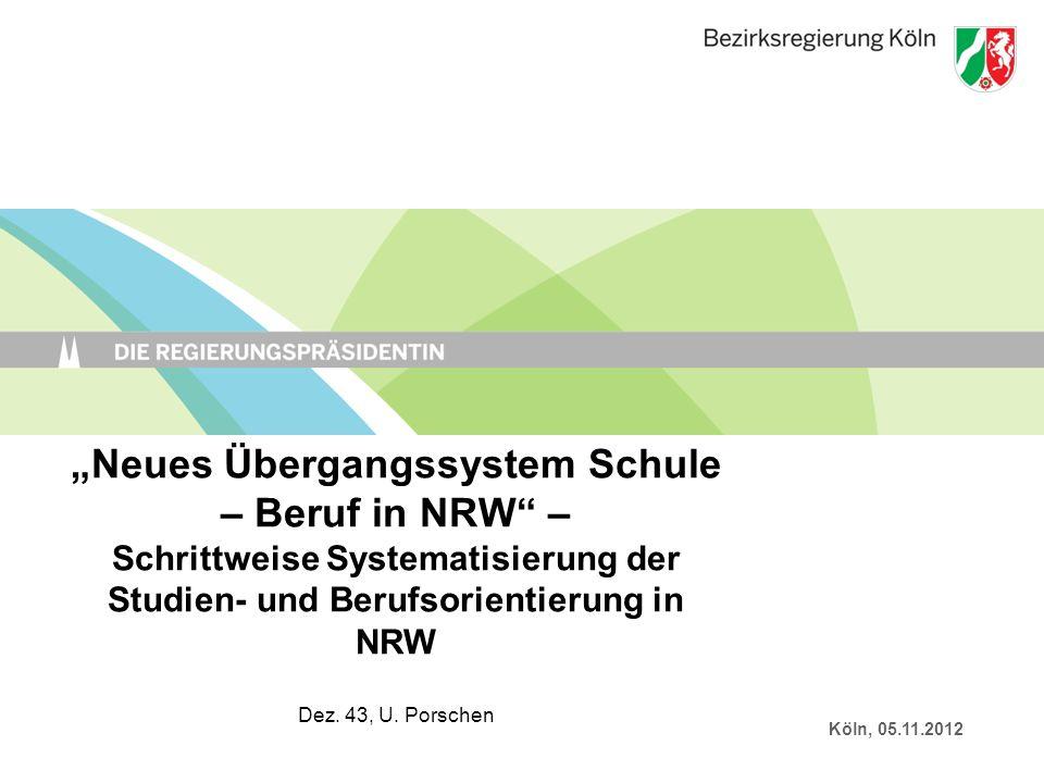 Neues Übergangssystem Schule – Beruf in NRW – Schrittweise Systematisierung der Studien- und Berufsorientierung in NRW Dez. 43, U. Porschen Köln, 05.1