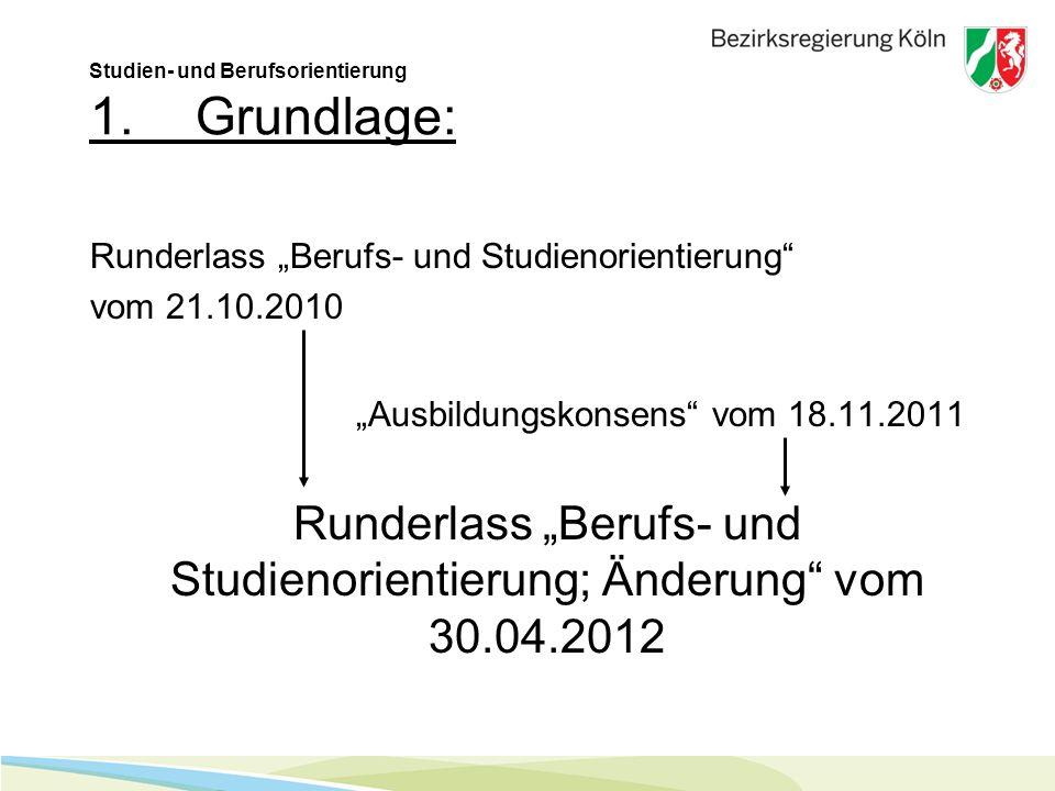 Studien- und Berufsorientierung 1.Grundlage: Runderlass Berufs- und Studienorientierung vom 21.10.2010 Ausbildungskonsens vom 18.11.2011 Runderlass Berufs- und Studienorientierung; Änderung vom 30.04.2012