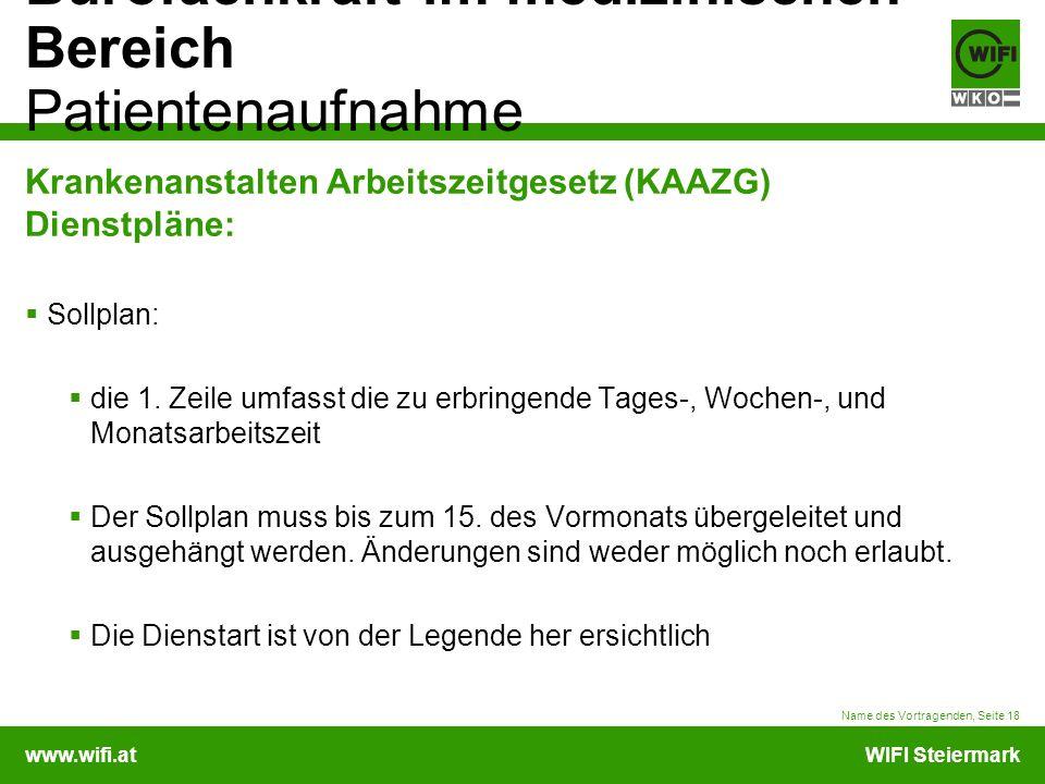 www.wifi.atWIFI Steiermark Bürofachkraft im medizinischen Bereich Patientenaufnahme Krankenanstalten Arbeitszeitgesetz (KAAZG) Dienstpläne: Sollplan: