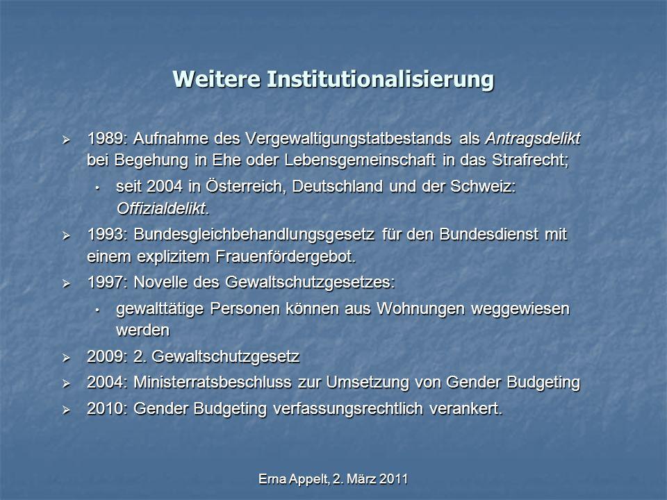 Erna Appelt, 2. März 2011 Weitere Institutionalisierung 1989: Aufnahme des Vergewaltigungstatbestands als Antragsdelikt bei Begehung in Ehe oder Leben
